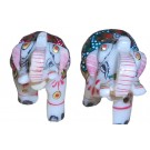 Decorative Solid Marble Gold Jeweled Elephant Pair Handicraft Decorative Gifts